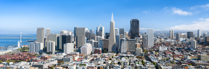 Photo sur Aluminium San Francisco San Francisco Skyline im Sommer