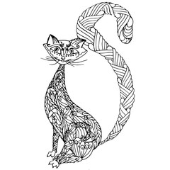 Hand drawn monochrome zentangle cat for coloring page antistress stock vector illustration