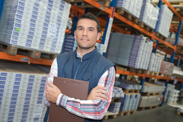 Portrait of man in warehouse
