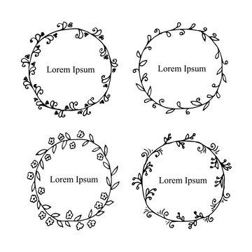 Hand drawn outlines monochrome wreath set, thin black lines, Lorem ipsum, stock vector illustration design element