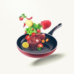Flying organic food and fresh meat on frying pan. Food illustration different vegetables and fresh meat on isolated white background