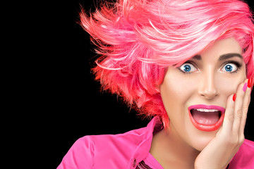 Surprised woman with trendy gradient pink hair