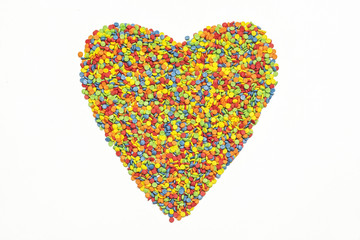 On white background of sprinkles stacked heart symbol