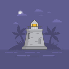 The coastal beacon the lighting safe way to the ships. Ancient stone tower lighthouse. A tropical night landscape with the island with palm trees and the sea. In flat style a vector.