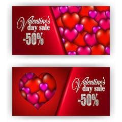 Set of gift vouchers with hearts for annual, festival sale. Valentine's day vector background. 3d realistic template mockup design for banner, poster, luxury invitation, greeting, gift card, ads.