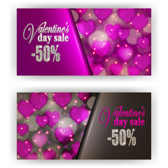 Set of gift vouchers with hearts, bokeh for annual, festival sale. Valentine's day vector background. Realistic template mockup design for banner, poster, luxury invitation, greeting, card, ads.