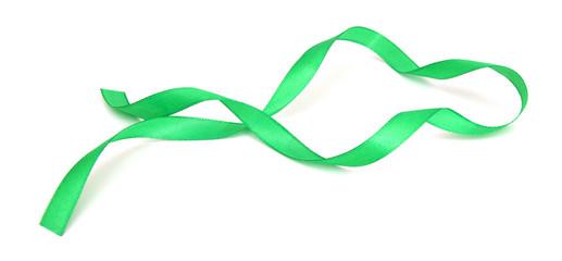 Green ribbon over white background, design element