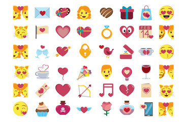 Vector set cute kawaii saint valentine emojis colorful isolated