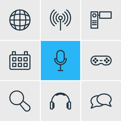 Vector illustration of 9 media icons line style. Editable set of camcorder, earmuff, mike and other elements.