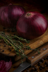 Red onion on a blackboard with rosemary, spices and a knife