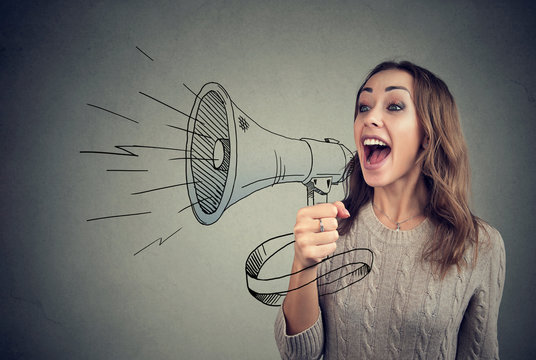 Cheerful woman sharing with news using loudspeaker