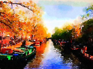 A Beautiful Canal In Amsterdam