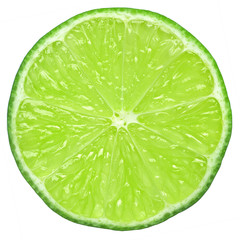 lime slice, clipping path, isolated on white background