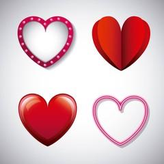 romantic love hearts different design vector illustration