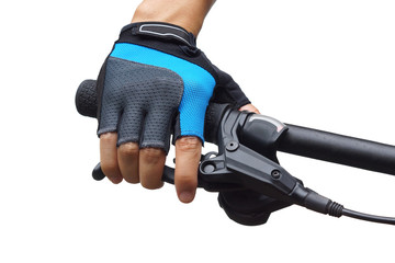 Closeup of hand of a cyclist holding a  bicycle brake lever isolated