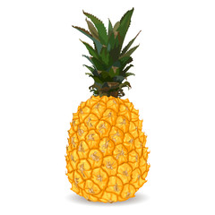 Yellow sweet pineapple isolated on white background