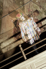 Translucent Ghost Clown Stalks Abandoned Auditorium