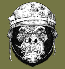 Vector illustration of 70's Gorilla  / Monkey Soldier