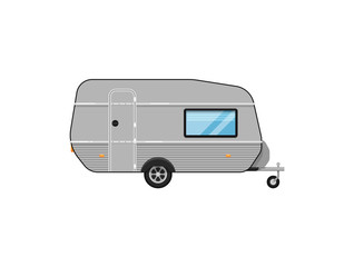 Camping trailer isolated on white icon