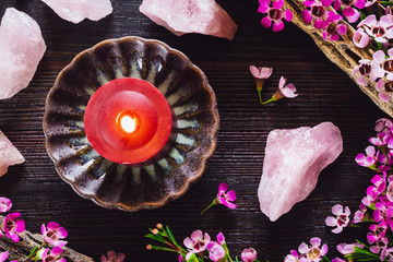 Red Candle and Rose Quartz