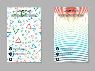 Abstract vector business template set. Brochure layout, modern cover design, poster, geometric shapes lines with texture background.
