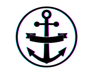 circle black anchor navy marine harbor port symbol icon image