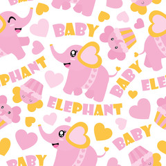 Seamless pattern of cute baby elephant and cupcakes vector cartoon illustration for Baby shower wrapping paper, kid fabric clothes, and wallpaper