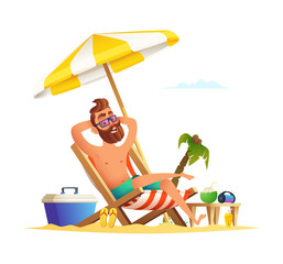 Beard man sitting on a sunbed. Happy smiling male relaxing on a chaise-longue. Vector cartoon concept