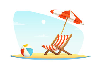 Leisure or rest at sea. Vacation and travel concept. Beach umbrella and beach chair on sea coast