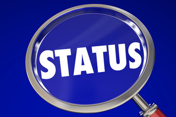 Status Magnifying Glass Update Information 3d Illustration
