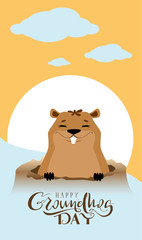 Happy Groundhog Day text greeting card. Marmot got out of hole