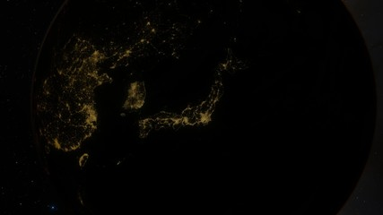 Planet Earth at Night from Space Japan Zoom In