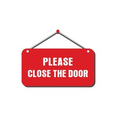 Please close the door sign vector design for store
