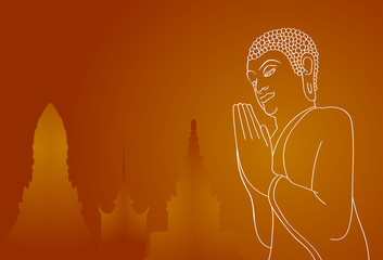 Silhouette of pray Buddha and temples on orange background. Vector illustration.