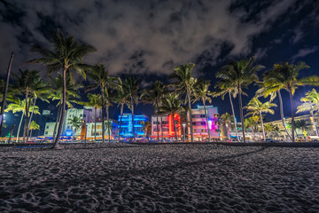 Ocean Drive street with illuminated buildings in Miami, Florida