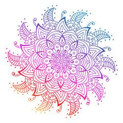 Vector flower Mandala. decorative elements. rainbow outline Mandala. Oriental circle pattern, asian, Arabic, Indian, Floral mandala Isolated on White.