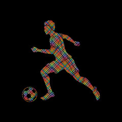 Soccer player running with soccer ball action designed using dots pixels graphic vector