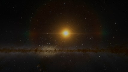 The Sun or other Star Pan with Milky Way