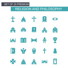 Religion and Philosphy icons set blue