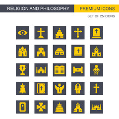 Religion and Philosphy icons set yellow and grey