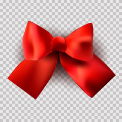 Red Satin bow on a transparent background for a holiday, birthday, St. Valentine's Day. Vector