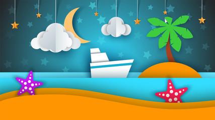 Ship, paper landscape, sea, cloud star cartoon illustration Vector eps 10