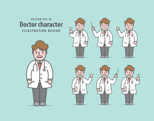 Doctor character illustration vector on green background. Medical concept.