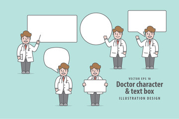Doctor character & text box illustration vector on green background. Medical concept.