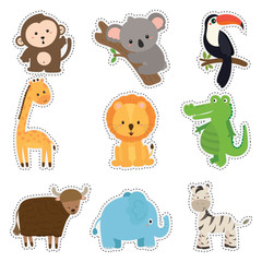 set of cute sticker with animal wildlife vector