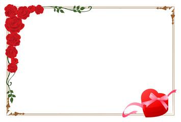 赤いバラとハートのプレゼント フレーム