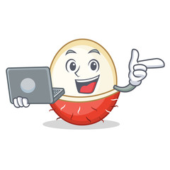 With laptop rambutan character cartoon style