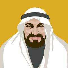 arabian man  face vector illustration flat style front