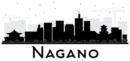 Nagano Japan City Skyline Black and White Silhouette.
