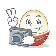 Photographer rambutan mascot cartoon style